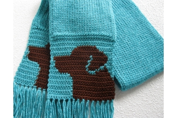 Chocolate Lab Scarf. Turquoise blue crochet and knit scarf with brown Labrador retriever dogs