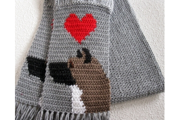 Akita Dog Scarf. Gray, crochet and knit scarf with red hearts and Japanese Akita dogs