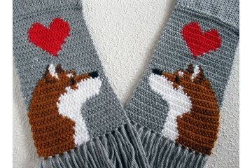 Shiba Inu Scarf. Grey, knit and crochet scarf with red hearts and Japan Akita dogs