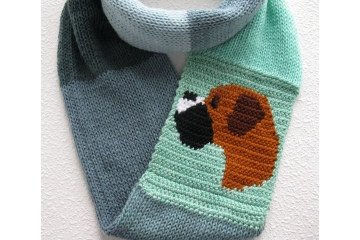 Boxer Infinity Scarf. Green and grays color block eternity cowl with a fawn boxer dog