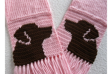 Labrador Retriever Scarf. Pink knit scarf with chocolate lab dogs for pet lovers