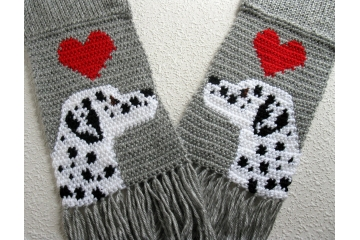 Dalmatian Scarf. Grey crochet scarf with large red hearts and black and white spotted dogs