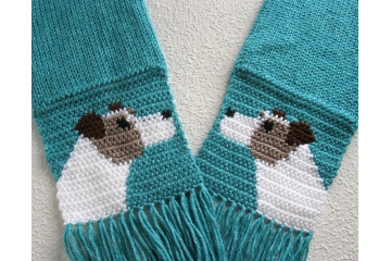 Turquoise blue scarf with Jack Russell or Parsons terriers