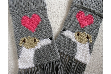 Greyhound dog gifts. Gray knit scarf with white and fawn whippets and pink hearts