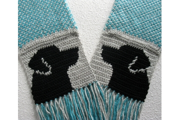 Long Labrador Scarf. Gray and turquoise blue, fair isle knit scarf with black Lab dog silhouettes