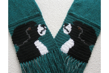 Long teal pet lovers scarf with black and white Portuguese water dogs.