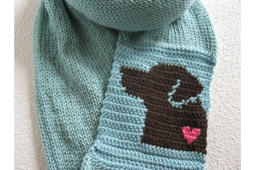 Labrador Infinity Scarf. Sea foam, knit and crochet circle scarf with a chocolate Lab dog and small pink heart.