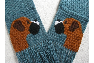 Knit Boxer scarf.  Glacier blue, crochet scarf with fawn boxer dogs