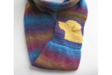 Lab Infinity Cowl. Colorful stripes scarf with a yellow Labrador retriever dog