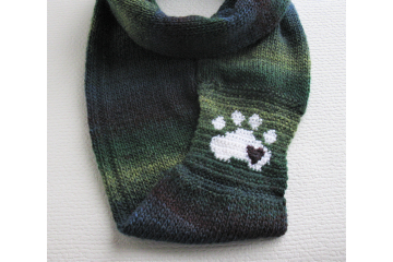 Clone of Paw Print Infinity Scarf. Charcoal gray knitted circle cowl with a white paw print and small red heart.