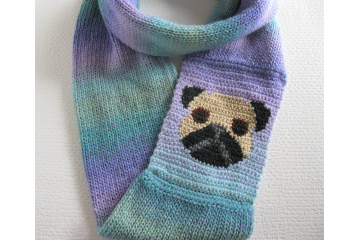 Pug infinity scarf.  Colorful stripes, circle cowl with a black and tan pug dog