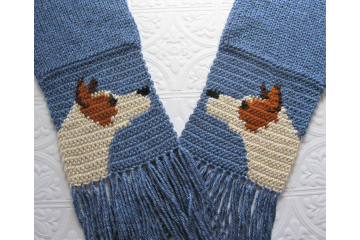 Australian Cattle Dog. Denim blue scarf with red heeler dogs for pet lovers