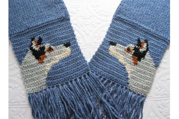 Australian Cattle Dog. Denim blue heather scarf with blue heeler dogs