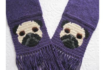 Pug dog scarf.  Royal purple, knit scarf with black and tan pugs