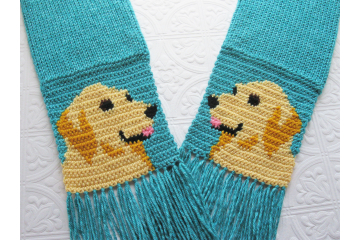 Golden Retriever Scarf. Turquoise blue knitted scarf with yellow dogs