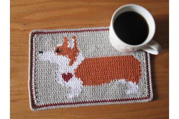 Corgi dog crochet pattern. Gray mug mat with a Pembroke Welsh corgi